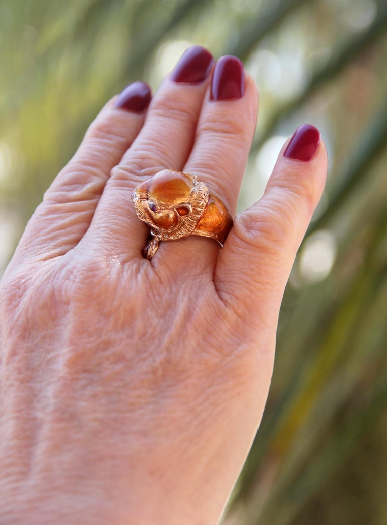 Handcraft Lion 14 Karat Yellow Gold Ring Diamonds Enamel For Sale 8