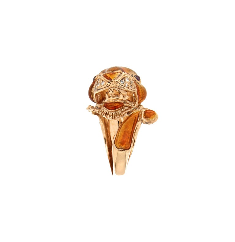 Brilliant Cut Handcraft Lion 14 Karat Yellow Gold Ring Diamonds Enamel For Sale
