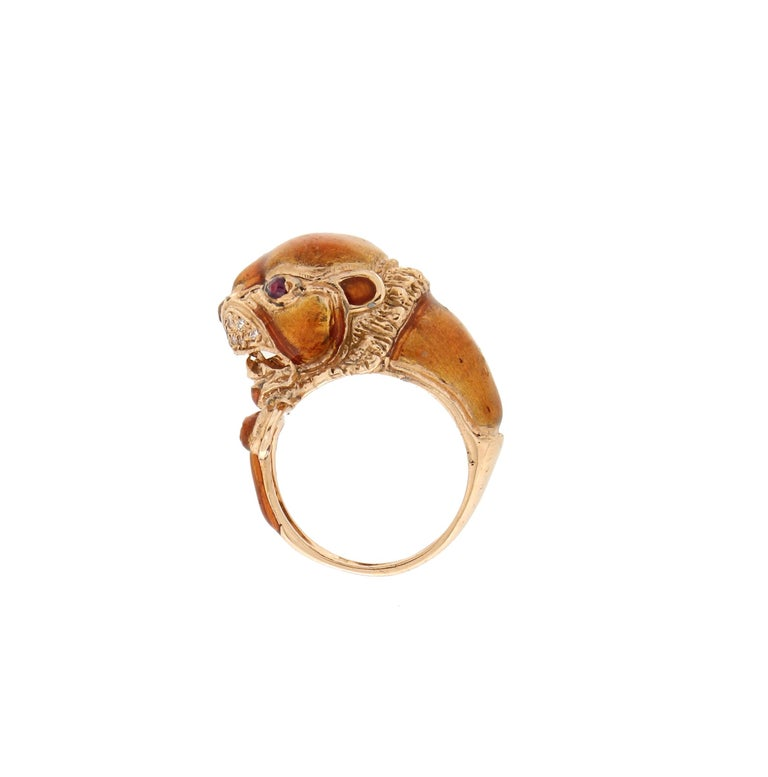 Handcraft Lion 14 Karat Yellow Gold Ring Diamonds Enamel In New Condition For Sale In Marcianise, IT