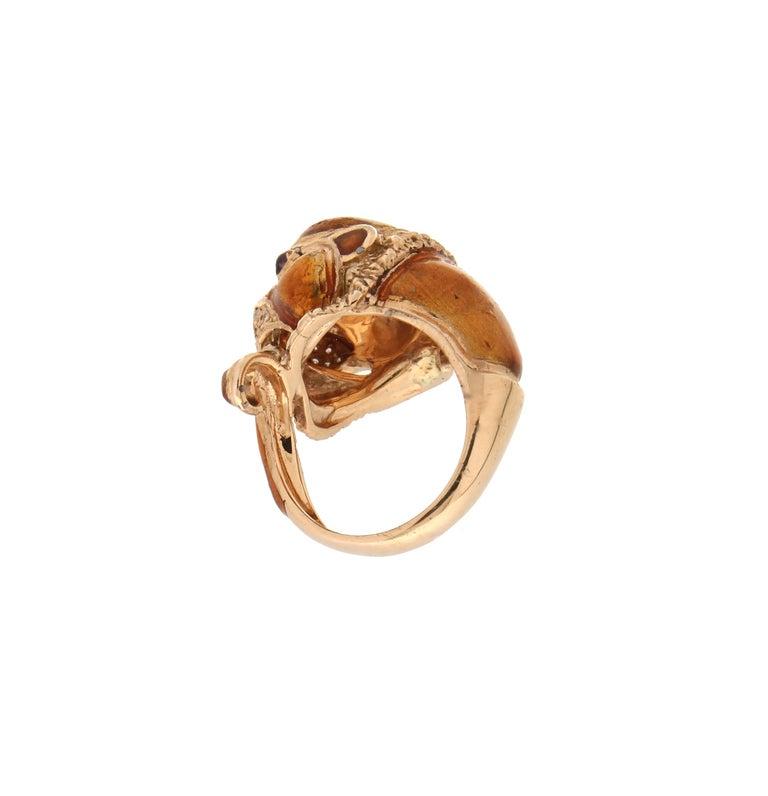 Handcraft Lion 14 Karat Yellow Gold Ring Diamonds Enamel For Sale 1