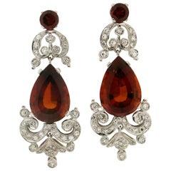 Handcraft Madera Citrine 18 Karat White Gold Diamonds Drop Earrings