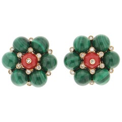 Handcraft Malachite 14 Karat Yellow Gold Diamonds and Coral Clip-On Earrings