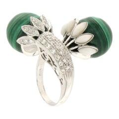 Handcraft Malachite 18 Karat White Gold Coral Diamonds Cocktail Ring