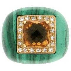 Handcraft Malachite 18 Karat Yellow Gold Diamonds Citrine Cocktail Ring