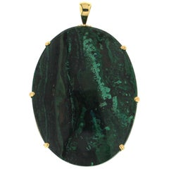 Handcraft Malachite 18 Karat Yellow Gold Pendant Necklace