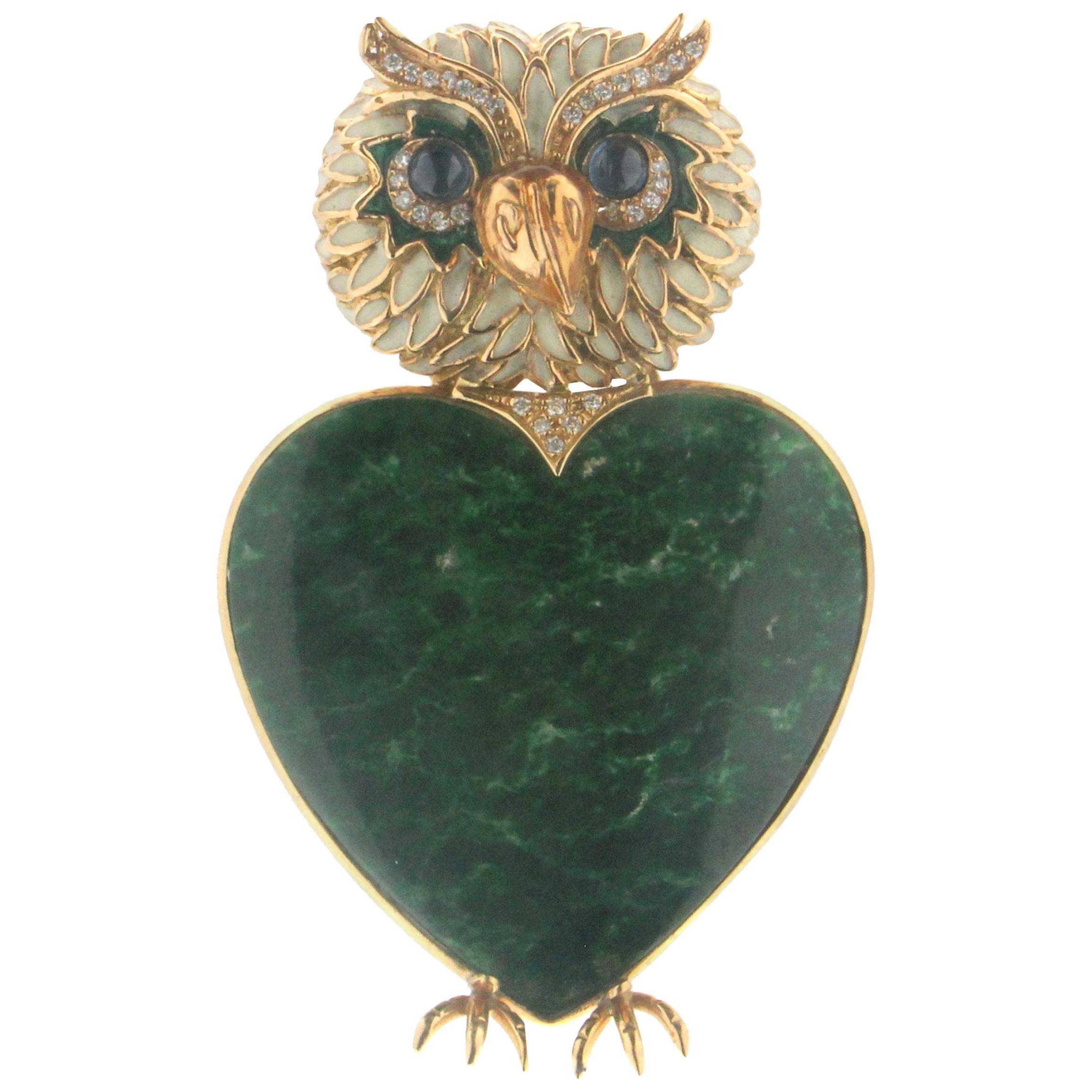 Handcraft Malachite Owl 18 Karat Yellow Gold Diamonds Brooch