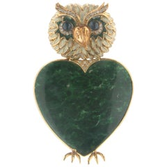 Handcraft Malachite Owl 18 Karat Yellow Gold Diamonds Brooch