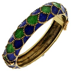 Handcraft Martini Enamel 14 Karat Yellow Gold Bangle Bracelet