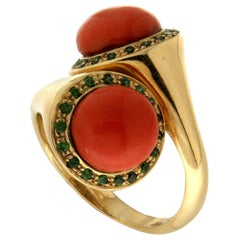 Handcraft Mediterranean Coral 18 Karat Yellow Gold Tsavorite Cocktail Ring