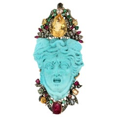 Handcraft Medusa Turquoise 9 Karat Yellow Gold Brooch and Pendant