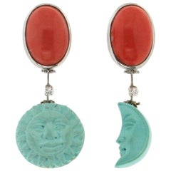 Handcraft Moon and Sun 18 Karat White Gold Coral Turquoise Diamond Drop Earrings