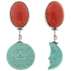 Handcraft Moon and Sun 18 Karat White Gold Coral Turquoise Diamond Drop Earrings