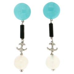 Handcraft Moonstones 18 Karat White Gold Diamonds Turquoise Onyx Drop Earrings