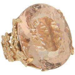Handcraft Morganite 14 Karat Yellow Gold Diamonds Cocktail Ring
