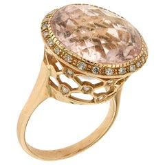 Handcraft Morganite 18 Karat Yellow Gold Diamonds Cocktail Ring