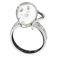 Handcraft Mouse Face 18 Karat White Gold Australian Pearl Diamonds Cocktail Ring