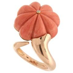 Handcraft Natural Coral 18 Karat Yellow Gold Diamond Cocktail Ring