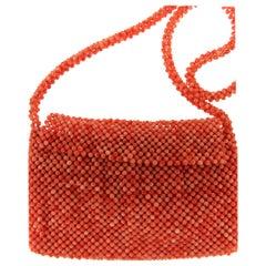 Handcraft Natural Coral Bead Woven Bag