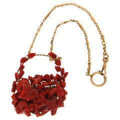 Handcraft Natural Coral Yellow Gold Drop Necklace