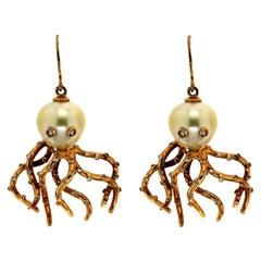 Handcraft Octopus 18 Karat Yellow Gold Pearls Diamonds Drop Earrings