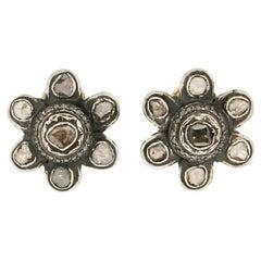 Handcraft Old Cut Diamonds 14 Karat Yellow Gold Stud Earrings