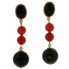 Handcraft Onyx 14 Karat Yellow Gold Coral Drop Earrings