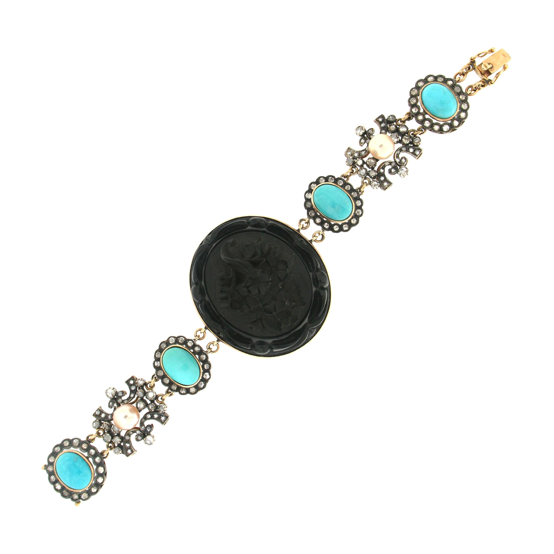 Handcraft Onyx 14 Karat Yellow Gold Turquoise Pearls Diamonds Retro Bracelet