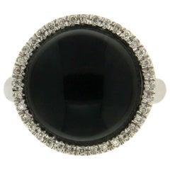 Handcraft Onyx 18 Karat White Gold Diamonds Cocktail Ring