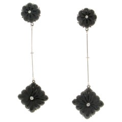 Handcraft Onyx 18 Karat White Gold Diamonds Drop Earrings