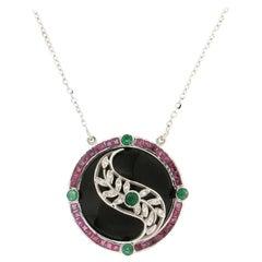 Handcraft Onyx 18 Karat White Gold Diamonds Emeralds Ruby Drop Necklace