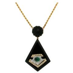 Handcraft Onyx 18 Karat Yellow and White Gold Diamonds Emerald Pendant Necklace