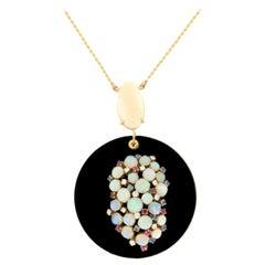 Handcraft Onyx 18 Karat Yellow Gold Diamonds Opal Sapphires Ruby Drop Necklace