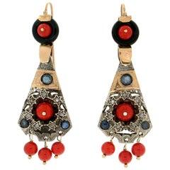Handcraft Onyx 9 Karat Yellow Gold Diamonds Sapphire Coral Dangle Earrings