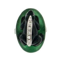 Handcraft Onyx Frog 18 Karat White Gold Aventurine Diamonds Cocktail Ring