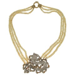 Handcraft Opal 14 Karat Yellow and White Gold Diamonds Dragon Pendant Necklace