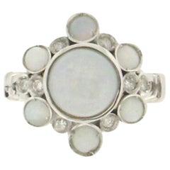 Handcraft Opal 18 Karat White Gold Diamonds Cocktail Ring