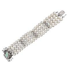 Handcraft Opal 14 Karat White Gold Diamonds Japan Pearls Diamonds Cuff Bracelet