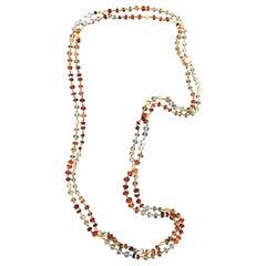 Handcraft Opal Fire 14 Karat Yellow Gold Diamonds Multi-Strand Necklace