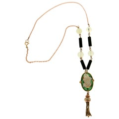 Handcraft Opal Frog 18 Karat Yellow Gold Diamonds Onyx Jade Pendant Necklace