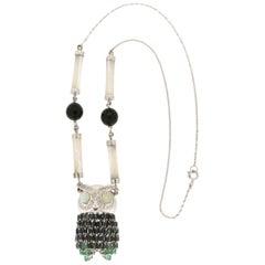 Handcraft Owl 18 Karat White Gold Diamonds Sapphires Opal Pendant Necklace