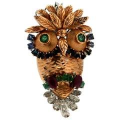 Handcraft Owl 18 Karat Yellow and White Gold Diamonds Sapphires Ruby Brooch