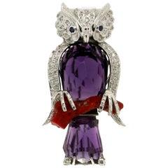 Handcraft Owl Amethyst 18 Karat White Gold Coral Diamonds Brooch
