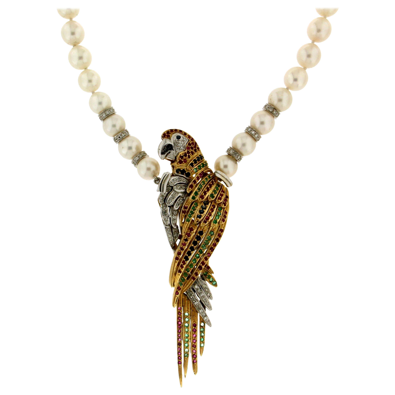 Handcraft Parrot 18 Karat Gold Diamonds Pearls Pendant and Brooch
