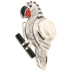Handcraft Parrot 18 Karat White Gold Diamonds Precious Stones Brooch