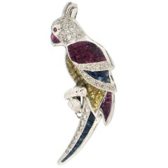 Handcraft Parrot 18 karat White Gold Diamonds Sapphires Brooch