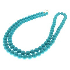 Handcraft Paste of Turquoise 18 Karat Yellow Gold Rope Necklace