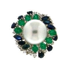 Handcraft Pearl 18 Karat White Gold Sapphires Emeralds Diamonds Cocktail Ring