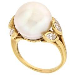 Handcraft Pearl 18 Karat Yellow Gold Diamonds Cocktail Ring