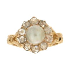 Handcraft Natural Pearl 18 Karat Yellow Gold Diamonds Cocktail Ring