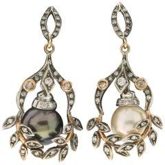 Handcraft Pearls 14 Karat Yellow Gold Diamonds Drop Earrings
